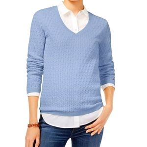 Tommy Hilfiger Blue Cable Knit Sweater Medium M